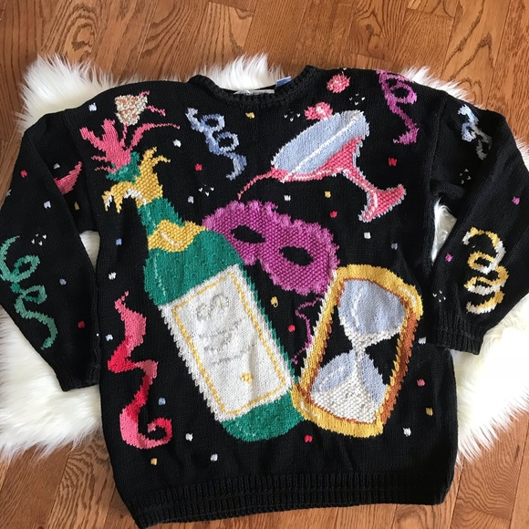 Vintage Sweaters Handknitted New Years Eve Sweater Poshmark